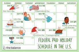 what s a typical paid holiday schedule