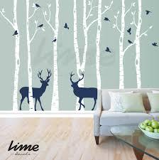 zoom on birch tree wall art canada with birch tree deer wall decal forest birch trees birch trees