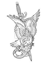 Fototapeta Orel A Had Tetování Obrys