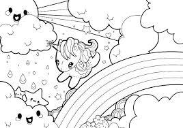 coloring pages cute colouring rainy rainbow unicorn kawaii crush anime cru