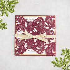 Elegant Invitation Cards Elegant Burgundy And Gold Laser Cut Wedding Invitations Swws018 Stylishwedd