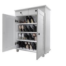 shoe storage cabinet deluxe with storage drawer heathfield in white amazon co uk kitchen home