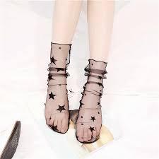 Japanese Women Girls Transparent Socks Harajuku dot star Pattern ...