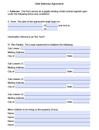Sublease Form Free Utah Sublease Agreement Template Pdf Word Doc
