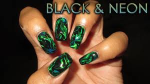 Black & Neon Marble | DIY Nail Art Tutorial - YouTube