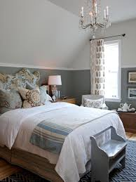 Grey And White Wall Color For French Country Bedroom With Glass Chandelier