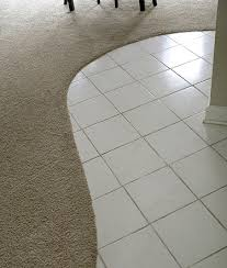 curved tile and carpet transition