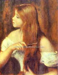 young girl combing her hair by pierre auguste renoir artist