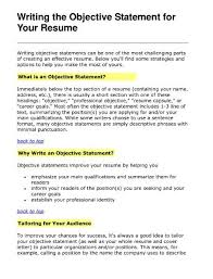 Writing A Objective For Resume Resume Goals And Objectives Best Resume Gallery 84