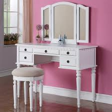 Makeup Vanity Desk Bedroom Furniture White Painted Walnut Make Up Table With Single Drawer And Curved
