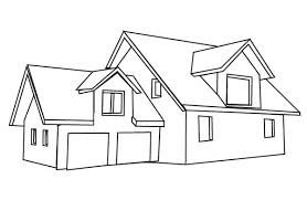Small Picture Coloring Page Of A House House With Double Garage In Houses