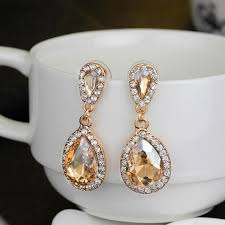 sparkly blush champagne bridal earrings crystal chandelier wedding earrings bridal jewelry teardrop luxury bridesmaid earrings in stock bridal s costume