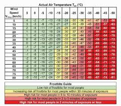 Wind Chill Temperature Wct Chart From Meterological