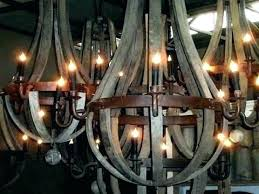 s wooden wine barrel chandelier shades of light stave rustic wood