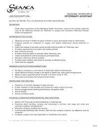 Veterinary Technician Sample Job Description Unique Cover Letter