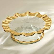 Clear Glass Cake Plates, Gold Band Pedestal Stand   Ruffle – Annieglass