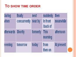 descriptive essay writing to show time order