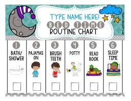 Editable Bedtime Routine Chart Self Care Life Skills Therapy Resources Tools To Grow