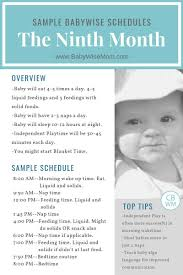Babywise Sample Schedules The Ninth Month Baby Schedule