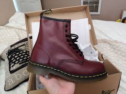 dr marten cherry red uni classic leather eyelet ankle boots red ankle boots