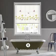 blinds for bathrooms. Vine And Butterfly Spring Bathroom Roller Blind, Green Multi-coloured Purple, Blinds For Bathrooms