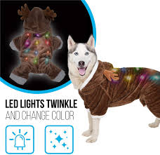 Blinking Lights For Dogs K9 Casuals Dog Christmas Costume With Flashing Lights Reindeer Elf Santa Christmas Dog Costume With Blinking Led Lights Dog Christmas Outfit