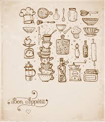 vintage kitchen utensils illustration. Brilliant Illustration Card With Vintage Kitchen Utensils Handdrawn Ink Vector Illustration  U2014 Vecteur Par Elinacious Throughout Vintage Kitchen Utensils Illustration S