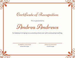 Certificate Recognition Simple Orange Recognition Certificate Templates By Canva