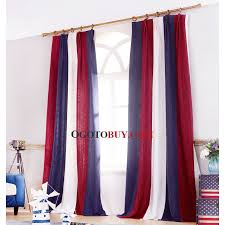 stripe thermal curtains in red and white color loading zoom