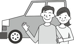 車と家族のイラスト無料イラストフリー素材