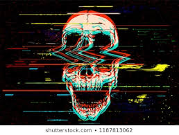 vector ilration of digital glitch screaming skull in rgb mode offset