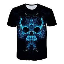Amazon Com Mens 3d Skull Printed Short Sleeved Crew Neck
