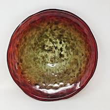 hand blown glass plate bowl red gold end of day platter sparkle shimmer art