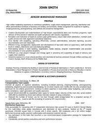 A Resume Template For A Senior Warehouse Manager You Can
