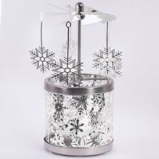 Carousel Christmas Rotary Candle Holder - Silver Snowflakes