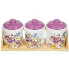 <b>Набор банок из керамики</b> для сыпучих продуктов Декор Ирис ...