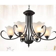 modern 6 light black wrought iron chandeliers e26 e27 bulb base llkhlun
