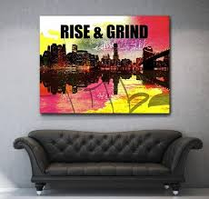pictures to hang in office. Rise \u0026 Grind Canvas Motivational Inspirational Wall Art (Wooden Frame Ready To Hang) - Pictures Hang In Office H