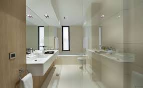Narrow Soft Brown Bathroom Theme Color Combined With Floating Vanity Adorable Bathroom Remodel Small Space Set