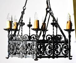 antique gothic chandelier six light antique gothic iron chandelier from france for