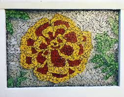 flower stained glass mosaic in gold and red on an 18x24 old wood framed window free