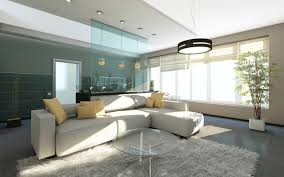 stylish living room furniture. white grey and blue living room interior design with large sofa recessed lighting stylish furniture