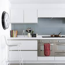Splashback White Kitchen Bright White Kitchen With Glossy Grey Splashback Ideal Home
