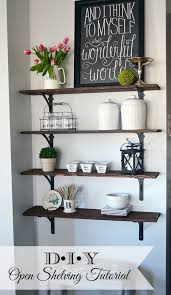 how to build stained wood open shelving