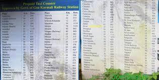 Goa Taxi Fare Chart India Travel Forum Goa Karmali Railway Station Goa
