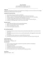 Splendid Design Ideas Mechanic Resume 6 Student Entry Level