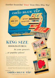 1956 ad ohio blue tip king size matchbook assorted designs 1956 ad ohio blue tip king size matchbook assorted designs wadsworth oh ybl1
