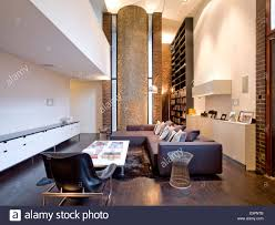 Uk Living Room Open Plan Double Height Living Room In Barbican Apartment London