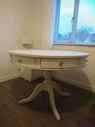vintage cream round shabby chic pedestal dining table seats 6 110cm diameter