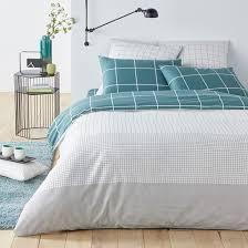 germain check print cotton duvet cover white blue la redoute interieurs la redoute